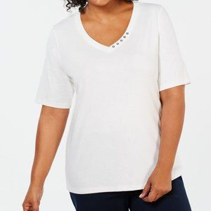 Karen Scott Plus Size Cotton V-Neck Top